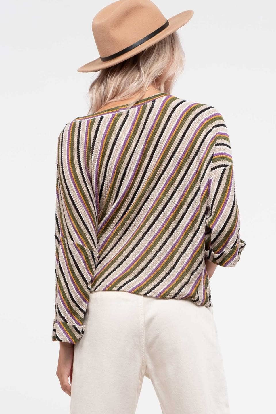 Blu Pepper - Cuffed Sleeve Stripe Knit Top