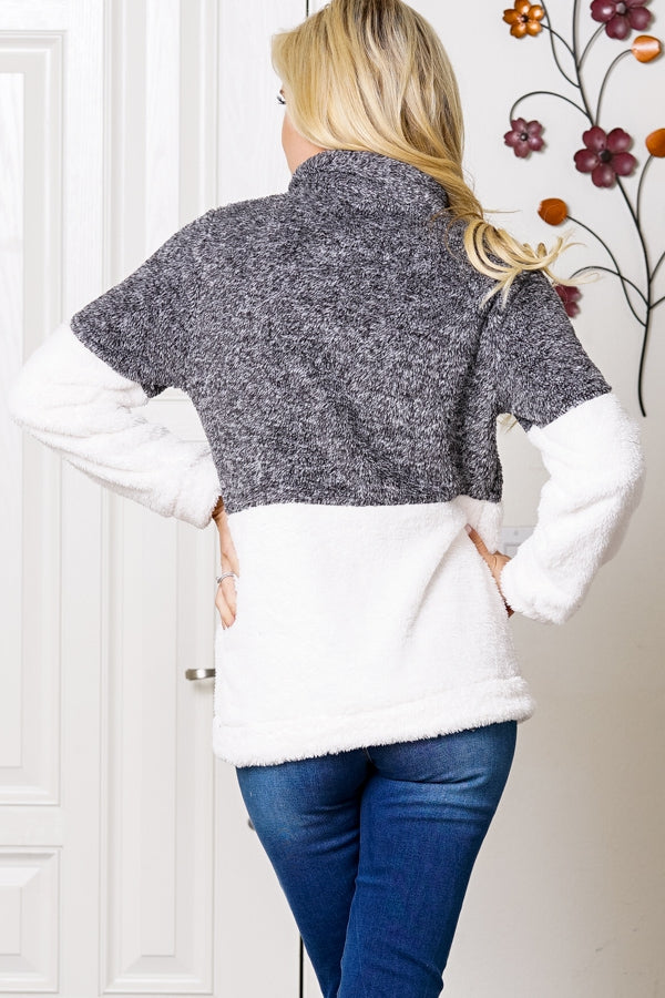 Charcoal and White Fleece Pullover