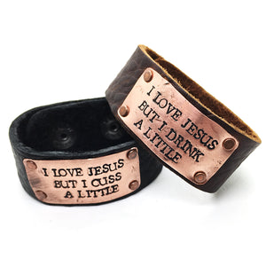 Buffalo Girls Salvage - The Sinner Leather Bracelet - Black