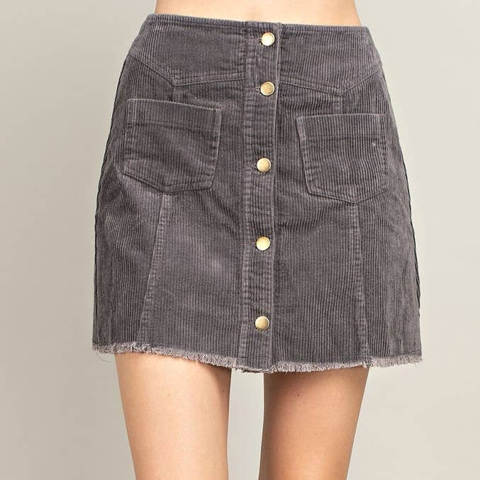 Grey Button Front Pockets Corduroy Skirt
