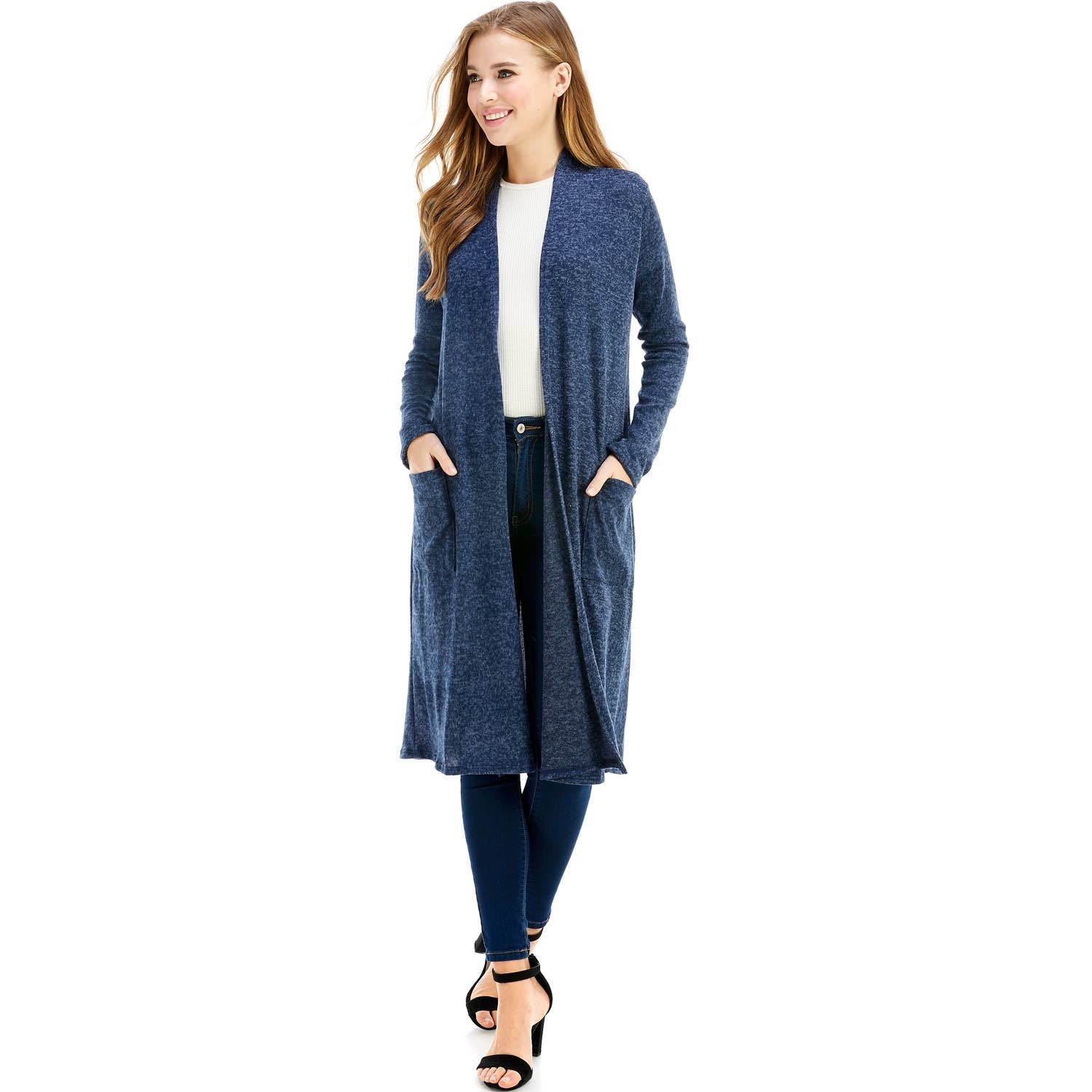 AZULES. - AJK-3011HC Maxi Long Sleeve Cardigan with Pockets