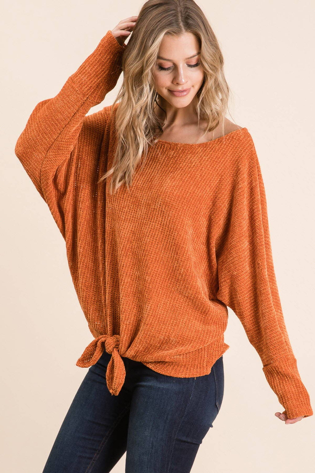"The ""VIVI"" - Chenille super soft front tie sweater top"