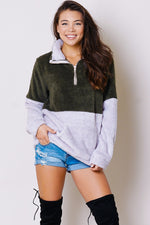 Olive & Grey Fleece 1/4 Zip Pullover