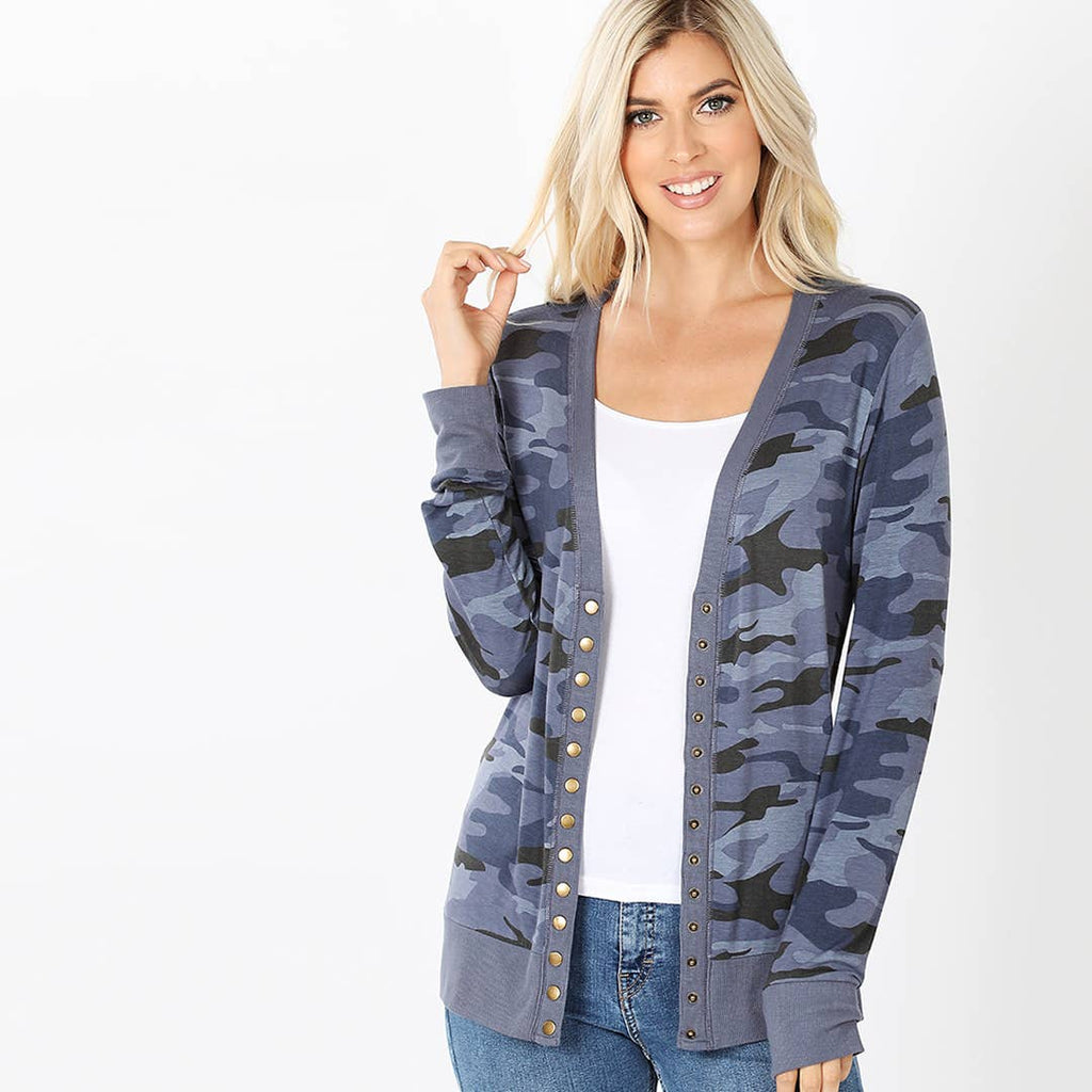 42pops - Camouflage Snap Button Cardigan