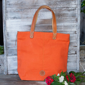 Le Papillon - Alsace Orange CANVAS TOTE genuine leather