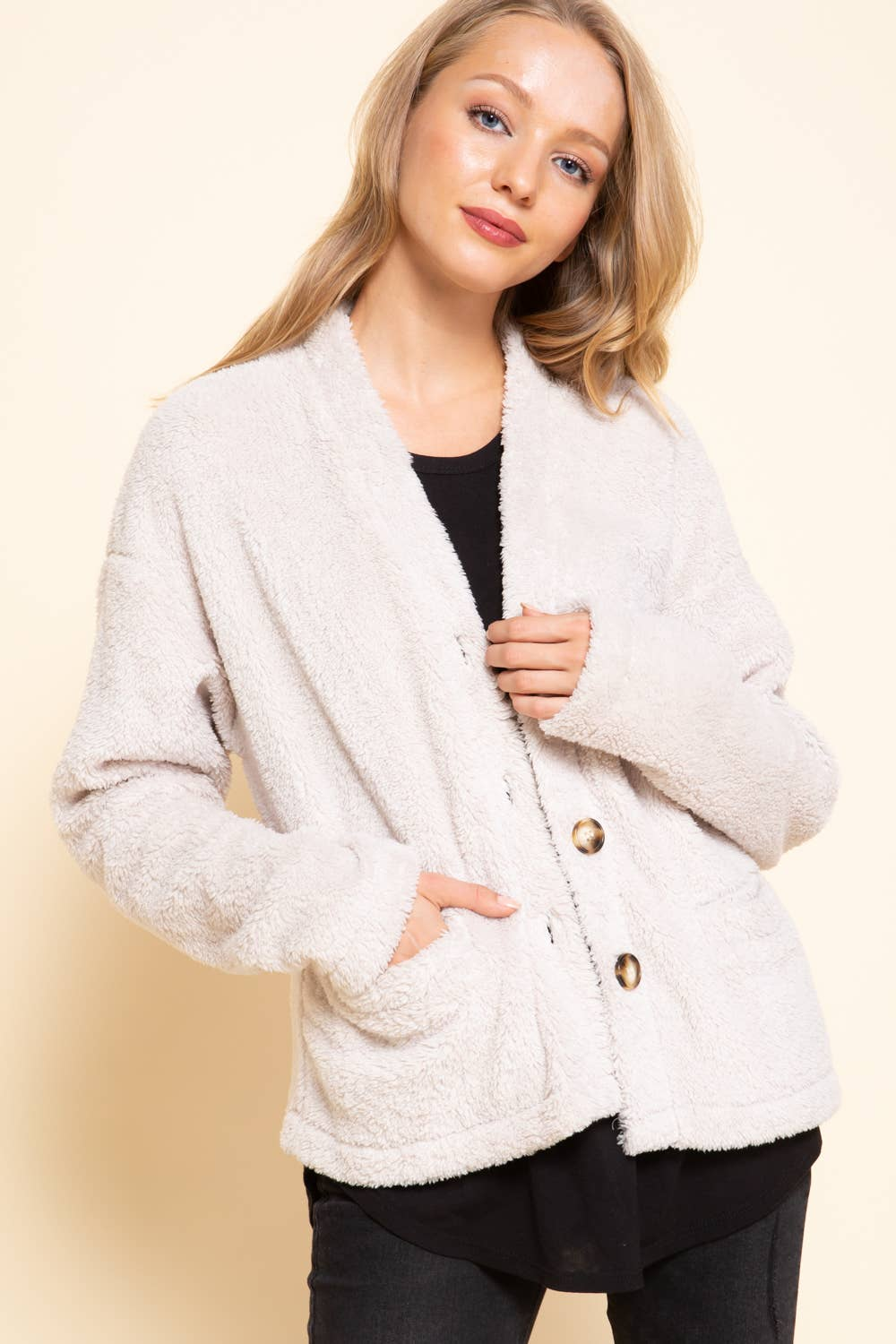 BUTTON DOWN FUR CARDIGAN