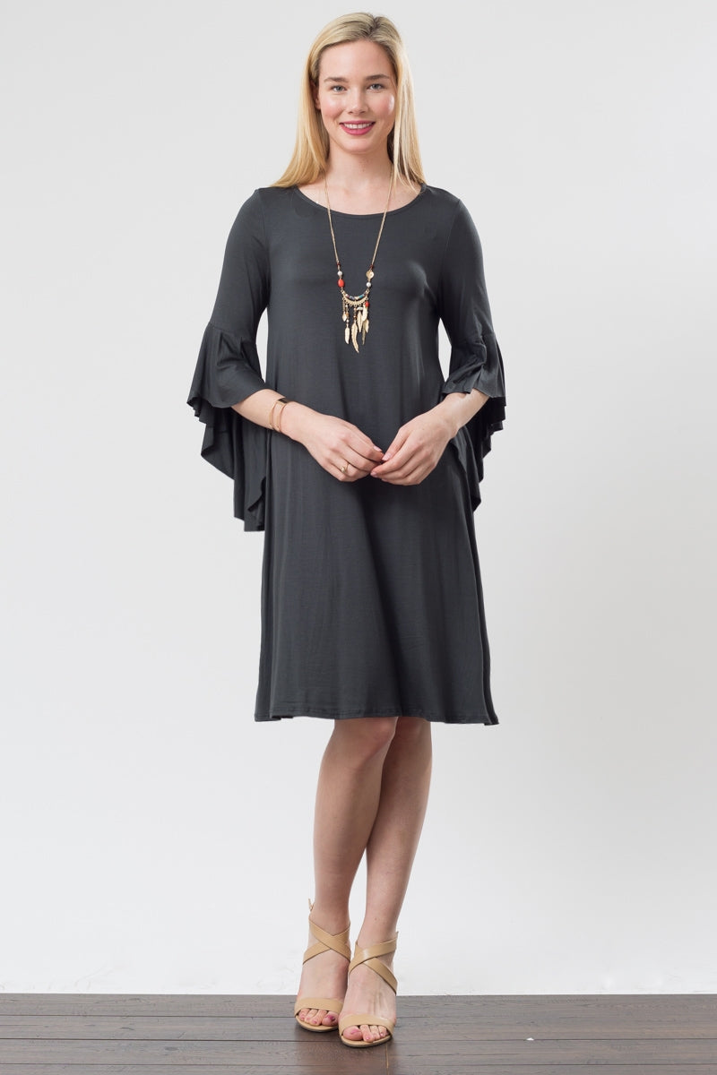 Charcoal Raw Edge Bell Sleeve Dress