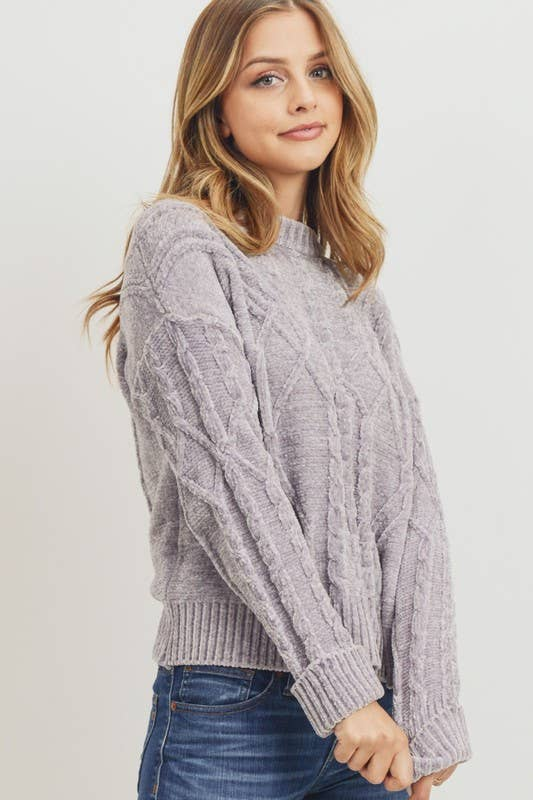 Grey Chenille Cable-Knit Sweater
