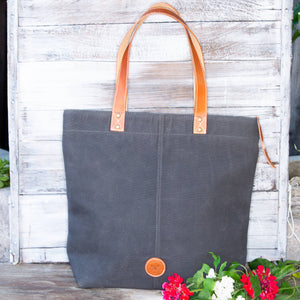 Le Papillon - ALSACE dark grey WAXED CANVAS & Genuine leather Tote