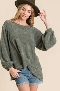 Olive Front Twist Sugar Knit Sweater