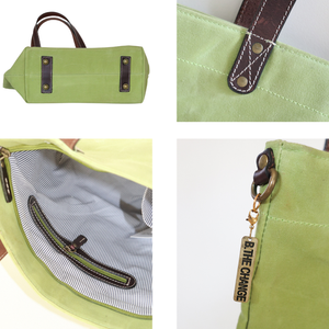 Le Papillon - ALSACE Lime green WAXED CANVAS & Genuine leather Tote
