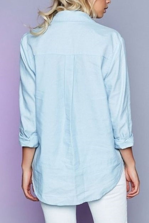 Light Blue Denim Tie Down Top