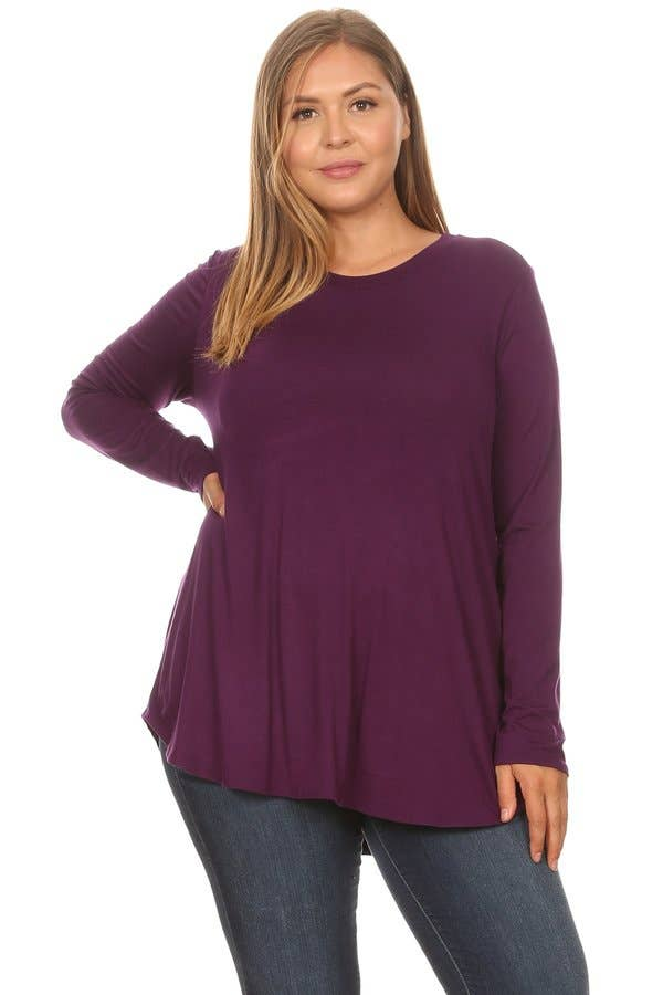 Eggplant Plus Size Scoop Neck Long Sleeve Top