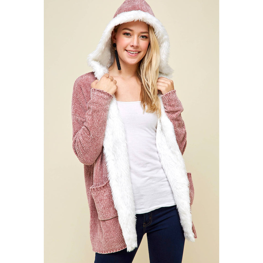 Winslow Collection - OPEN FRONT FAUX FUR TRIMMED CHENILLE CARDIGAN