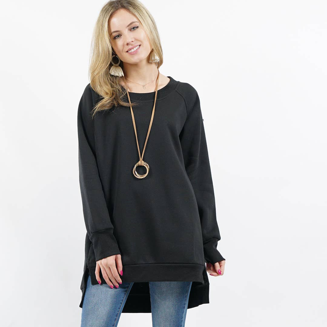 Black Fleece Sweatshirt Pullover with Side-pockets
