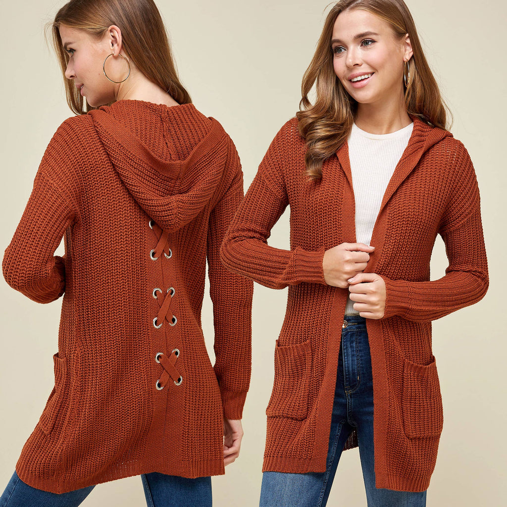 Winslow Collection - HOODED LACE UP BACK OPEN FRONT CARDIGAN
