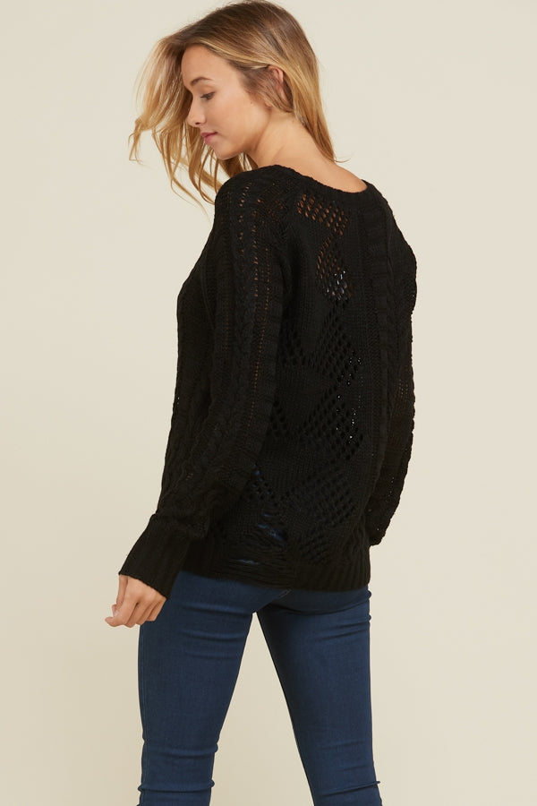 Black Crochet Pattern Sweater