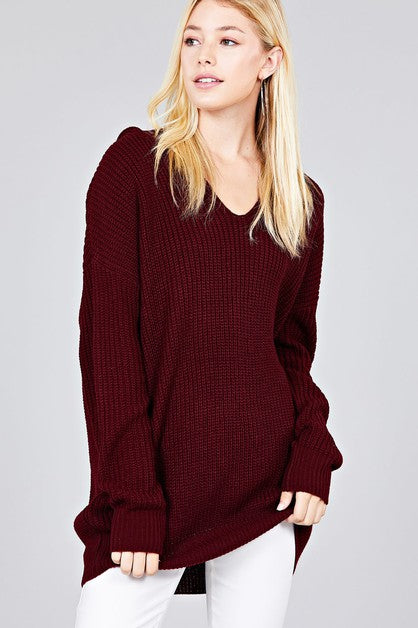 Oversized Burgundy V-Neck Sweater with Hood