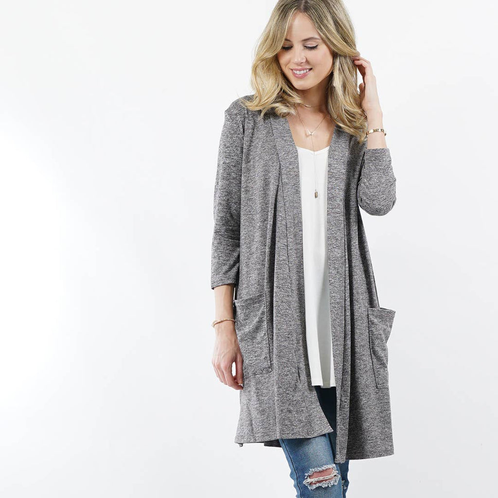 Heather Charcoal Long Sleeved 2toned Slouchy-Pocket Open Cardigan