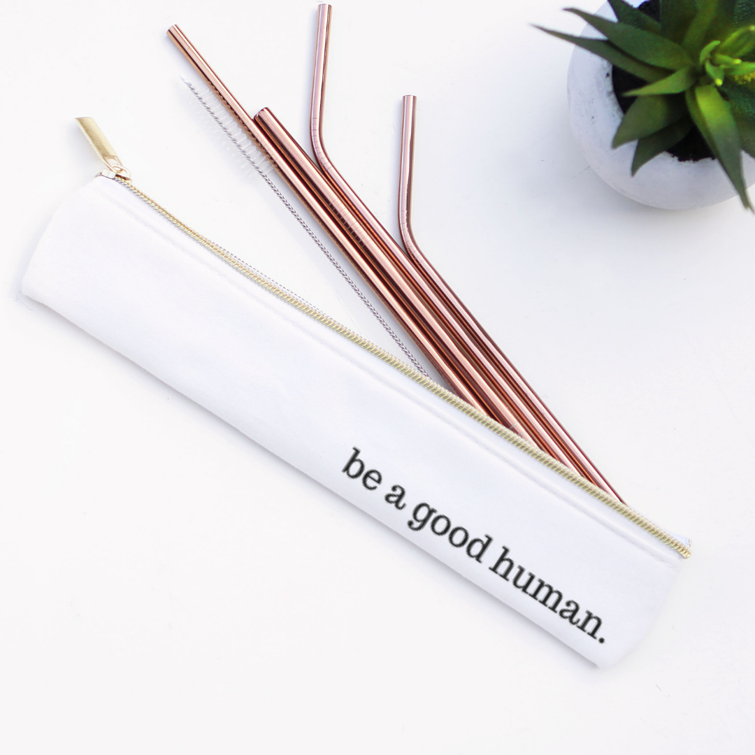 Last Straw - Good Human Straw Set Waterproof Lined Bag - 6 Pieces