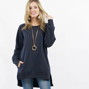 42pops - Hi-Low Fleece Sweatshirt Pullover with Side-pockets