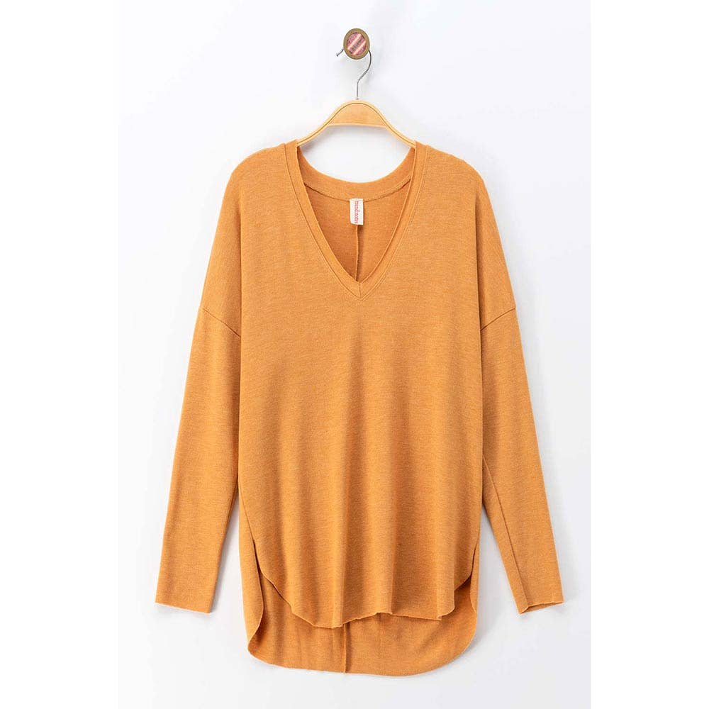Mustard Drop Shoulder Raw Hem V-Neck Top