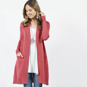 Rib lined two-pocket sweater cardigan Pink