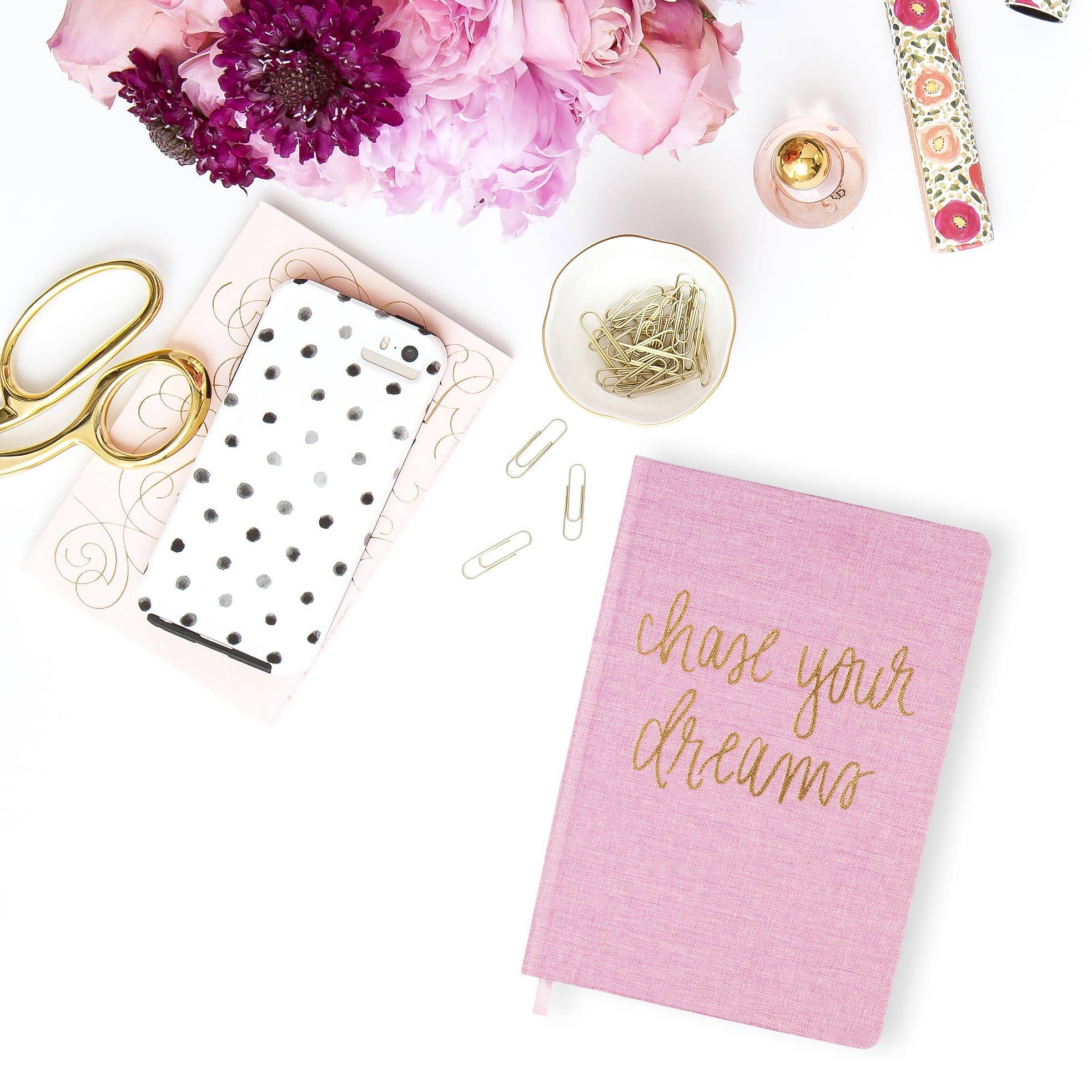 Sweet Water Decor - Chase Your Dreams Pink and Gold Fabric Journal