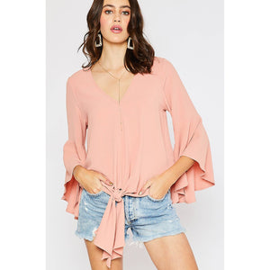Bluivy - FRONT-TIE BLOUSE WITH BELL SLEEVES