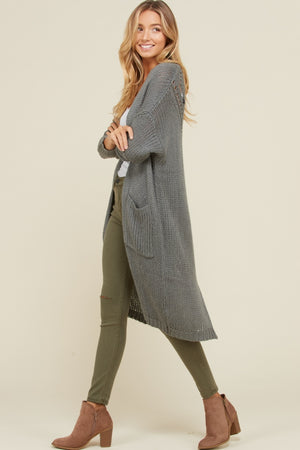 Long Grey Cardigan with Detail