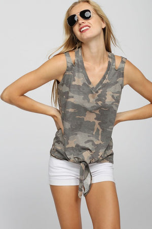 Camouflage Tank with Shoulder Cut Out & Tie