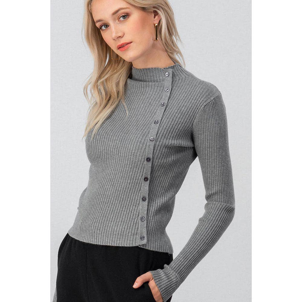 GREY RIBBED MOCK NECK SIDE BUTTON LONG SLEEVE TOP