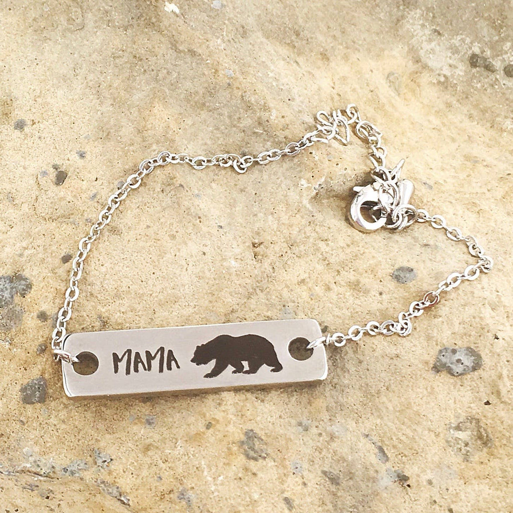 Buffalo Girls Salvage - Mother's Day Mama Bear Silver Laser Bracelet - Jewelry Gifts