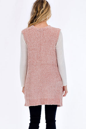 Dusty Pink Chenille Vest