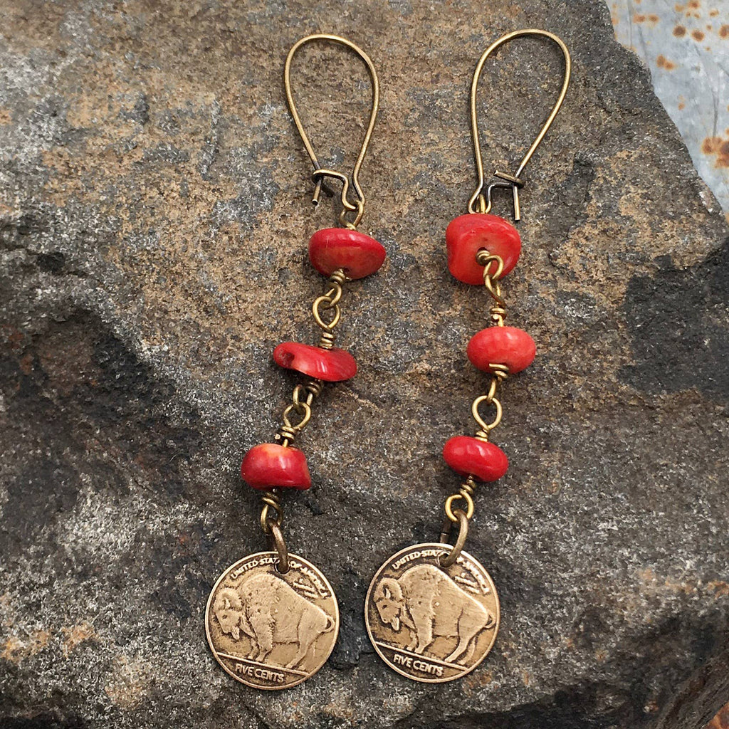 Buffalo Girls Salvage - Red Buffalo Bronze Earrings