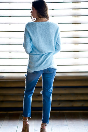 Lightweight Light Blue Fuzzy Eyelash Sweater