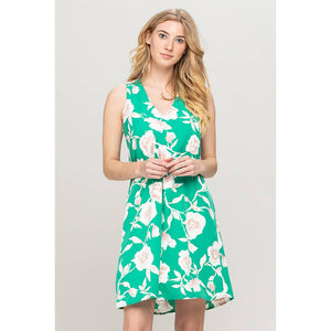 Renee C. - Bold Floral Print V-neck Dress