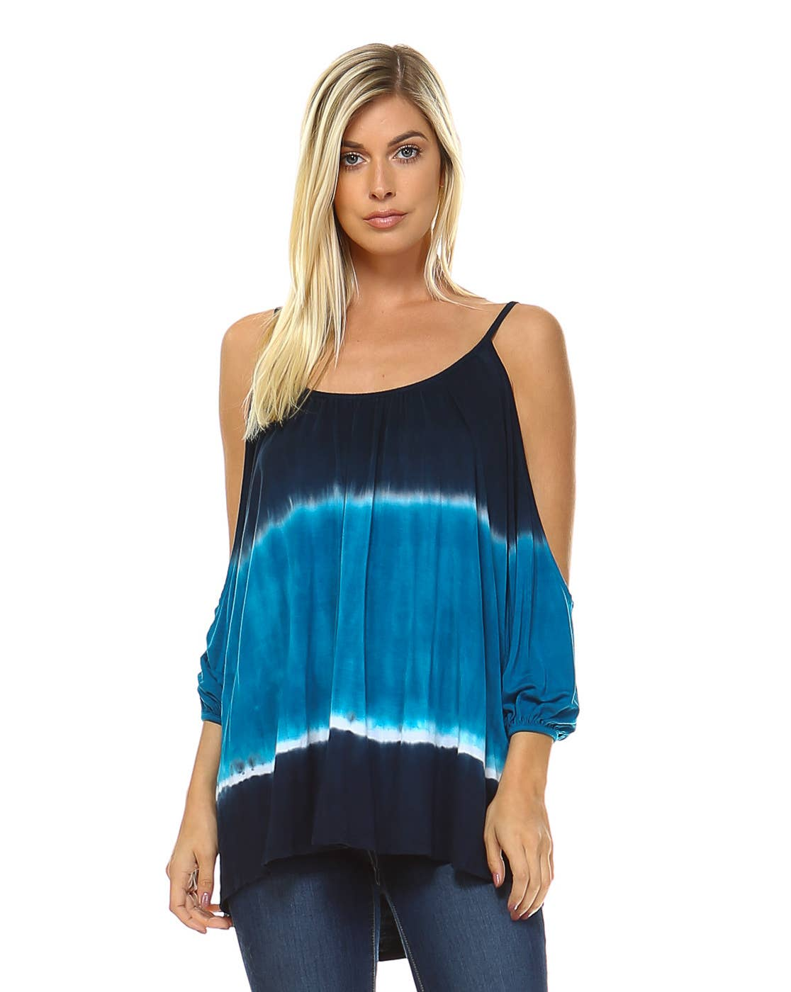 Urban X Apparel - Navy & Turquoise Two tone Ombre Hi low Cold shoulder top