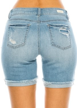 Light Blue Distressed Denim Shorts