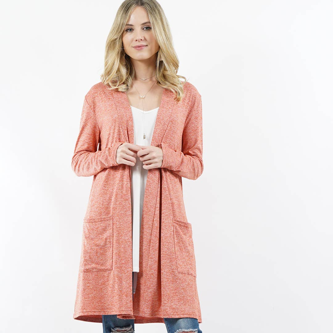 Heather Rust Long Sleeve 2toned Slouchy-Pocket Open Cardigan
