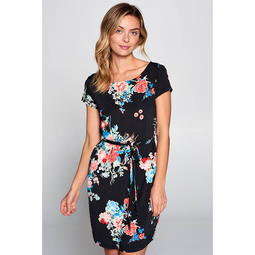 Renee C. - Black Floral Print Knit Dress with Waist Tie