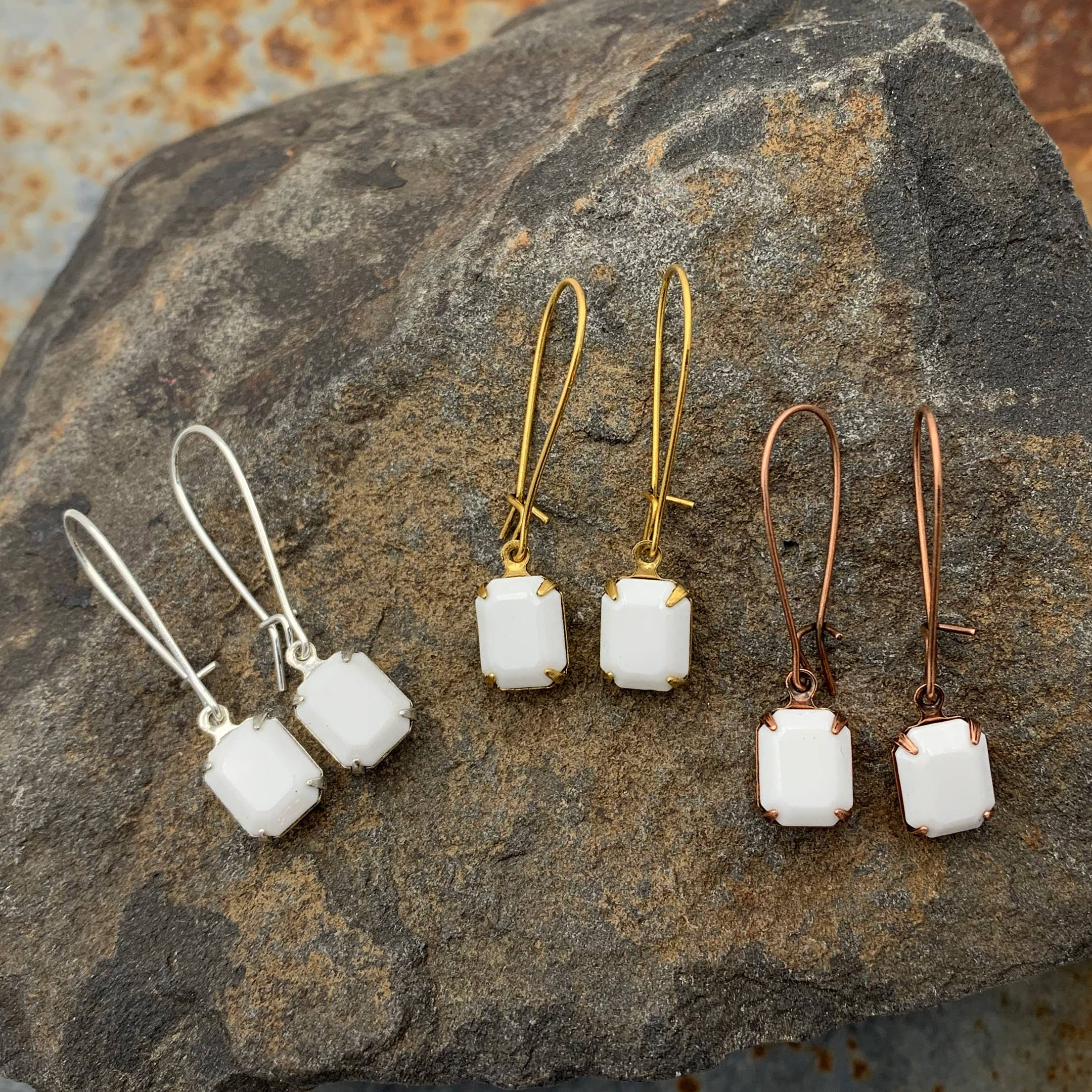 Buffalo Girls Salvage - White Swarovski Crystal Earrings - Copper, Silver or Gold