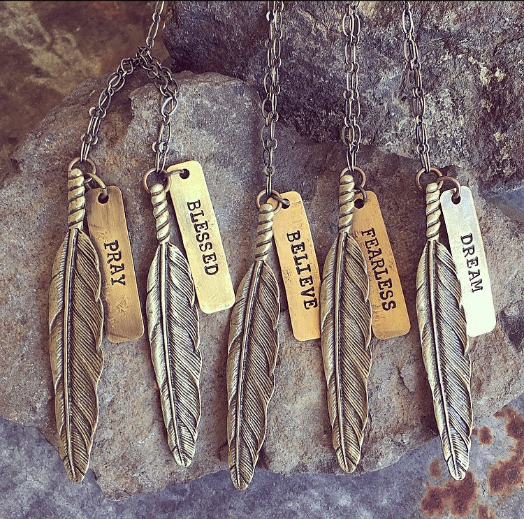Buffalo Girls Salvage  - Bronze Wandering Feather Necklace