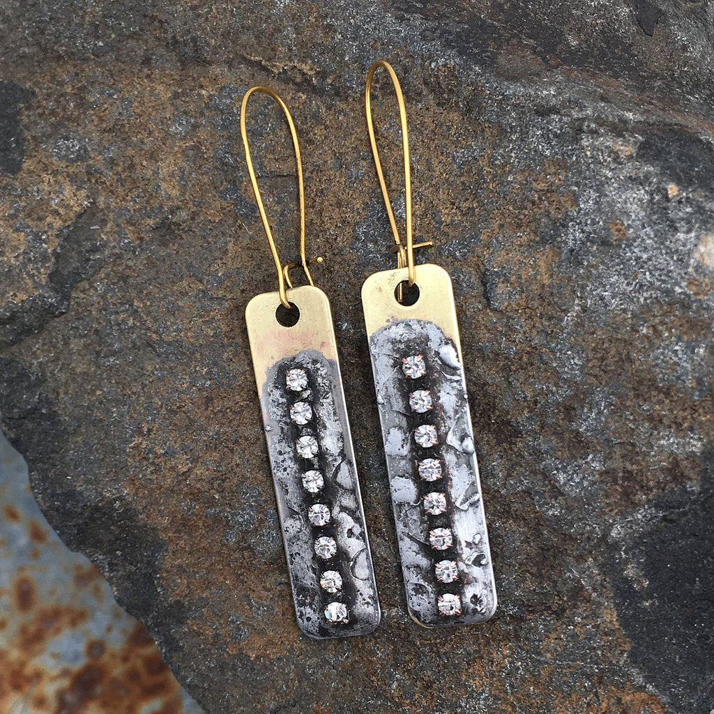 Buffalo Girls Salvage - Antique Gold Soldered Crystal Earrings