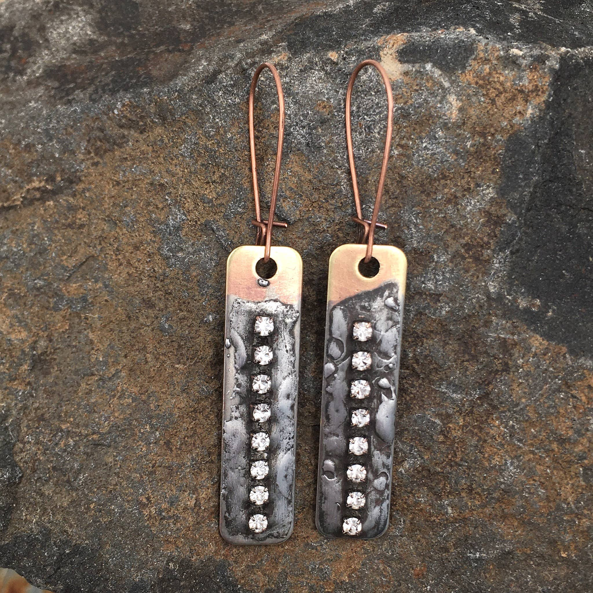 Buffalo Girls Salvage - Copper Soldered Crystal Earrings