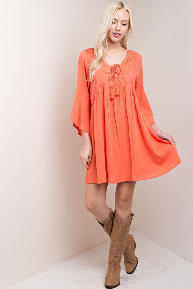 Coral Lace Dress/Top