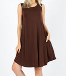 Chocolate Sleeveless Pocket Dress