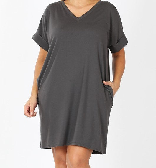V-Neck A-Line Pocket Dress Ash Grey