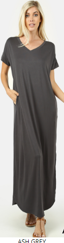 Long Grey Dress with Side Slits and Pockets