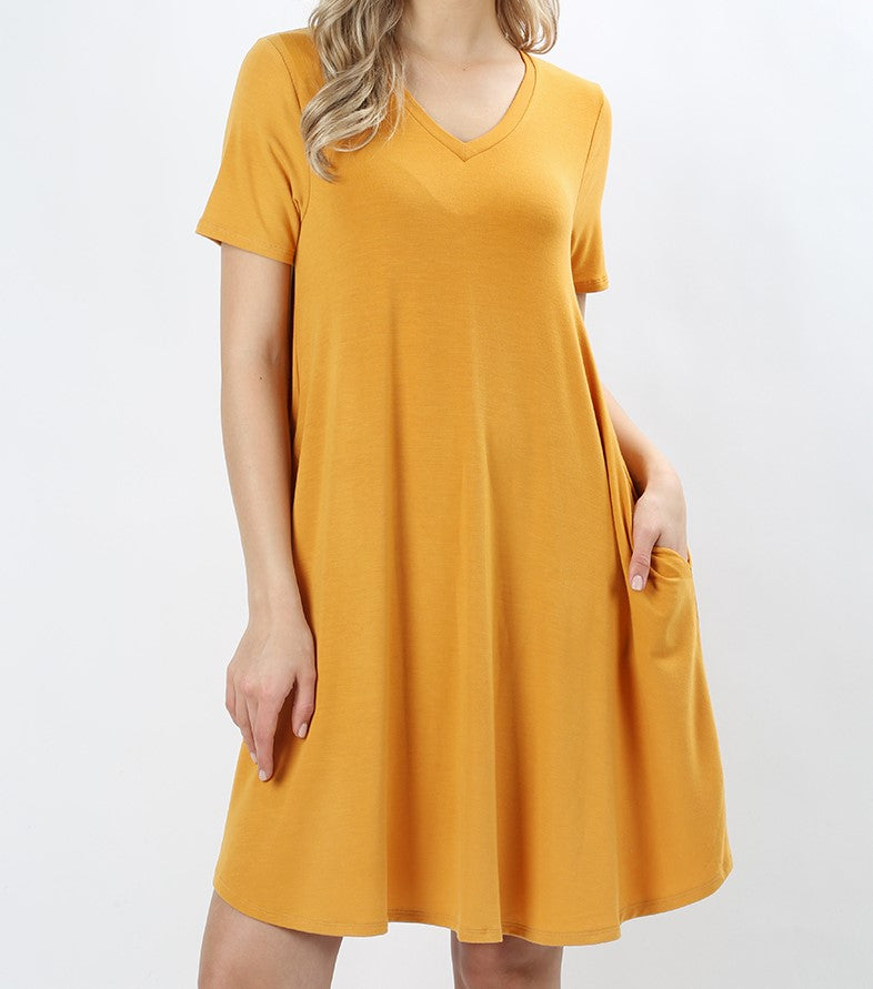 V-Neck A-Line Pocket Dress Ash Mustard